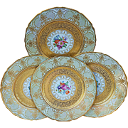"""T & V Limoges France 1900's Studio Decorated Hand Painted Set of 4 """"Multi-Floral & Heavy Gold"""" 11-1/4"""" Floral Plates"""