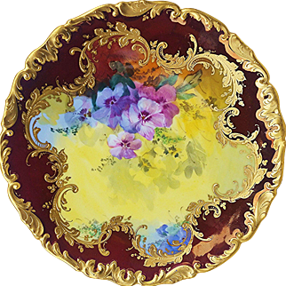"""Spectacular Dresden 1900's Hand Painted Lifelike """"Pink & Lavender Pansy"""" Rococo Style Floral Plate, Artist Signed"""