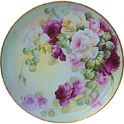 "16"" Museum Quality D & Co. France & Frances Studio of Chicago 1906 Hand Painted Vibrant ""Red & Pink Roses"" Floral Charger"