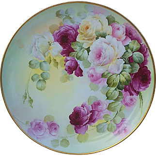 """16"""" Museum Quality D & Co. France & Frances Studio of Chicago 1906 Hand Painted Vibrant """"Red & Pink Roses"""" Floral Charger"""