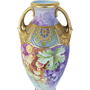 """Exceptional Nippon 15-1/2"""" 1900's Hand Painted """"Purple & Yellow Grapes"""" & Beaded Fruit Decor Vase"""