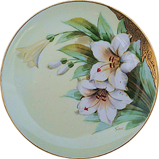 """Gorgeous Haviland France & Donath Studio of Chicago 1900's Hand Painted """"White Lily"""" Floral Plate, Artist Signed"""