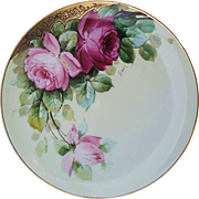 "Haviland France & Donath Studio of Chicago 1900's Hand Painted ""Red & Pink Roses"" Floral Plate, Artist Signed"