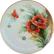 "Haviland France & Donath Studio of Chicago 1900's Hand Painted Vibrant ""Burnt Orange Poppy"" Floral Plate, Artist Signed"