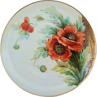 "Haviland France & Donath Studio of Chicago 1900's Hand Painted Vibrant ""Burnt Orange Poppy"" Floral Plate, Artist Signed"