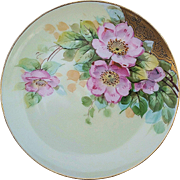 "Haviland France & Donath Studio of Chicago 1900's Hand Painted ""Wild Pink Roses"" Floral Plate, Artist Signed"
