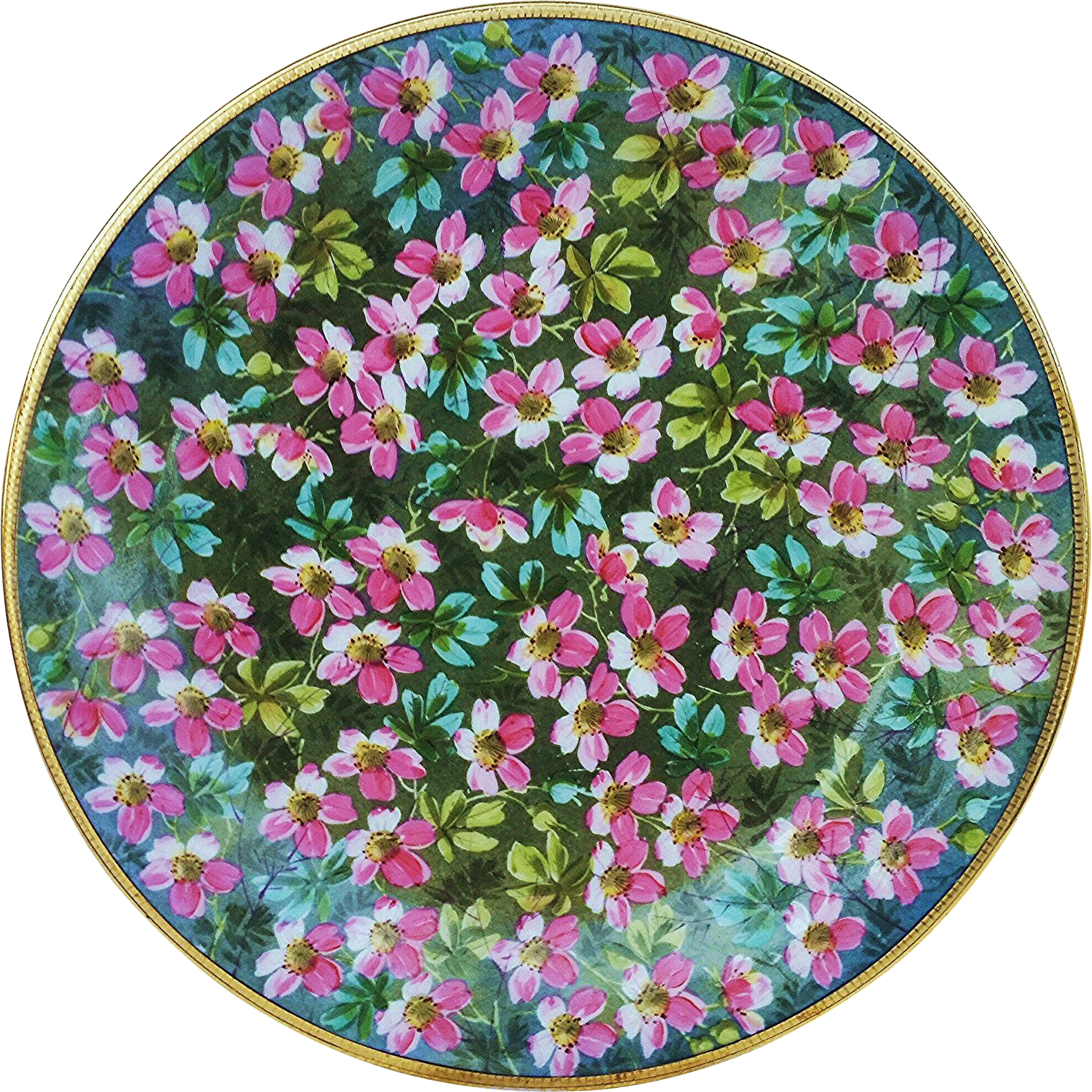 "Beautifully Decorated Hand Painted ""Pink Violets"" 9-1/8"""" Floral Plate"