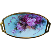"Large 17"" Bavaria 1900's Hand Painted ""Red & Pink Roses"" Floral Tray by the Listed Artist, ""Elsie Big"""