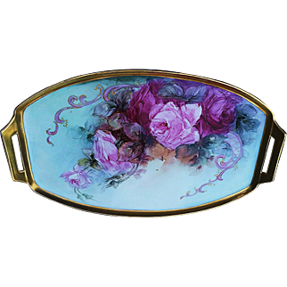 """Large 17"""" Bavaria 1900's Hand Painted """"Red & Pink Roses"""" Floral Tray by the Listed Artist, """"Elsie Big"""""""