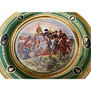 "Gorgeous Austria 1900's Hand Painted ""Napoleon At the Bataille de Friedland"" 8-1/4"" Heavy Gilded Scenic Plate by Artist, ""Vernet"""