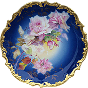 "Gorgeous 13-1/2"" William Guerin Limoges France Vintage 1900 Hand Painted Lifelike ""Pink Roses & Cobalt Blue"" Rococo Style Floral Charger"