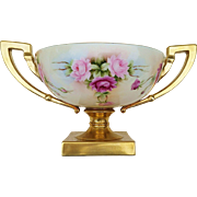 "Gorgeous Lennox Belleek 1900's Hand Painted ""Red & Pink Roses"" Pedestal Floral Bowl by the Artist, ""Patsy"""