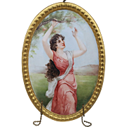 "Beautiful Haviland & Co. CFH GDM France Limoges 1900's Hand Painted ""Maiden Under A Flowering Tree"" 7"" Scenic Plaque"