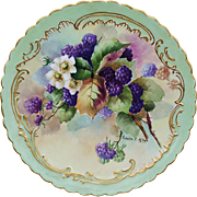 "Gorgeous Vintage Limoges France 1905 Hand Painted ""Blackberry"" 9-1/2"" Floral Plate by Artist, ""Laura E. Miller"""