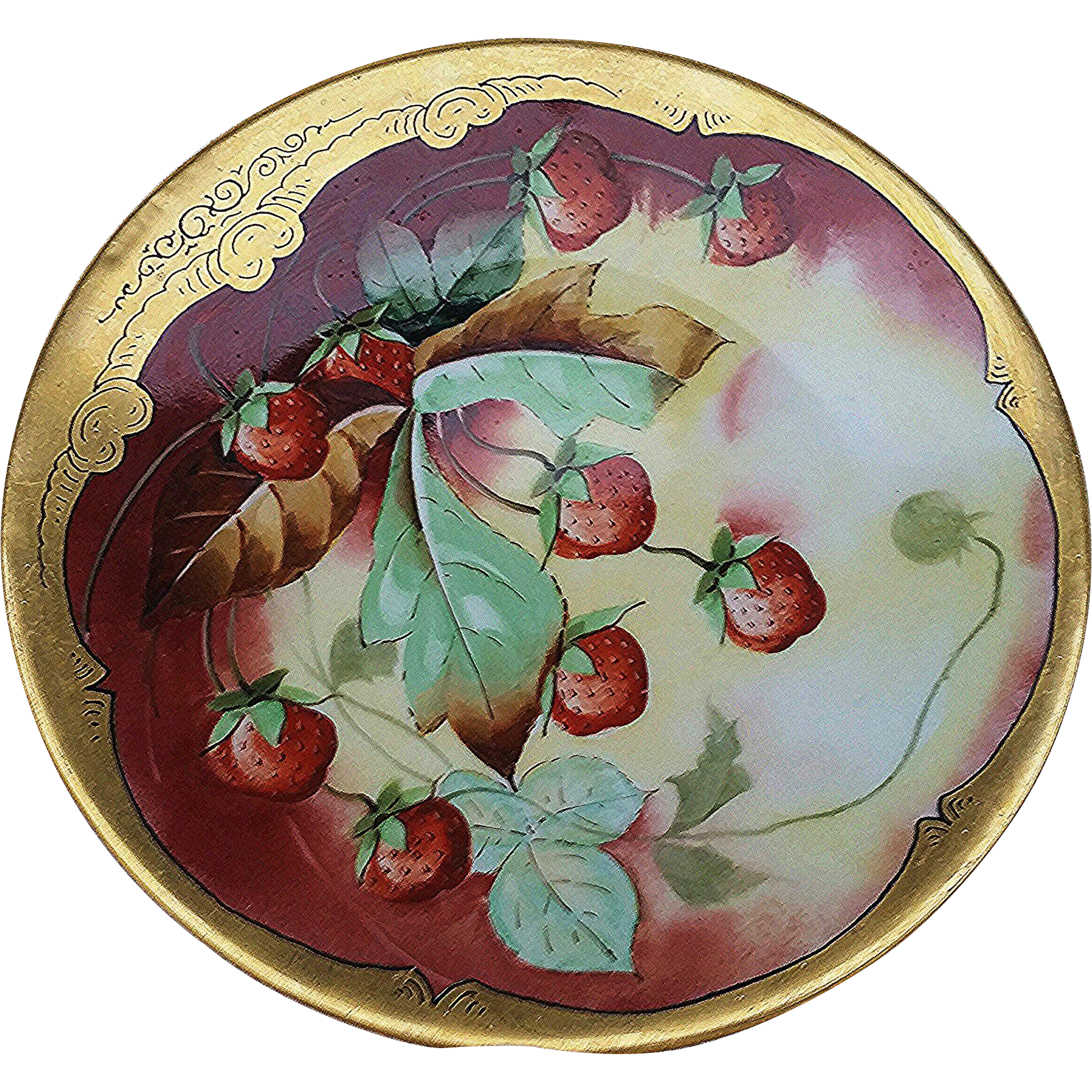 "Beautiful Limoges & J.H. Stouffer Co. 1900's Hand Painted ""Strawberries"" 8-3/8"" Fruit Plate by the Artist, ""C.K."""