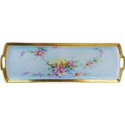 "Fabulous 19"" MZ Austria & Joyce Art Studio of Chicago 1900's Hand Painted ""Apple Blossom"" Floral Tray"