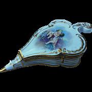 "Gorgeous Sevres 1850-70 Hand Painted ""Kissing Cherubs"" Fancy Bellow Shape 4-1/2"" Box"