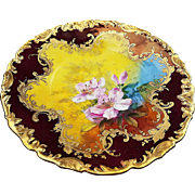 "Beautiful  Dresden 1900's Hand Painted Lifelike ""Pink Lily"" Rococo Style Floral Plate, Artist Signed"