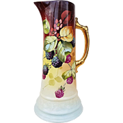 "Gorgeous Royal Firenza & France Studio of Chicago 1900's Hand Painted ""Blackberry"" 12"" Tankard by ""Robert France"""