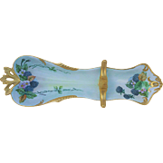 "Scarce & Exceptional Germany RS Prussia  Early 1900's Hand Painted ""Blackberry"" 14-5/8"" Spoon Holder by the Artist, ""Harriet Ocock"""