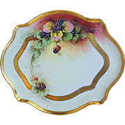 "Large & Gorgeous Limoges 1900's Hand Painted ""Blackberry"" 15-3/8"" Tray by a Chicago Decorator"