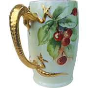 "Gorgeous J & C Bavaria Vintage 1900's Hand Painted ""Cherry"" 5-3/4"" Fruit Dragon Handle Tankard Stein"
