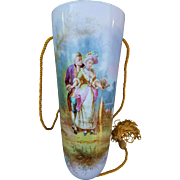 """Outstanding Sevres 1875 Hand Painted """"Romantic Courting Couple"""" 10-3/8"""" Scenic Wall Pocket by the Artist, """"Buisson"""""""