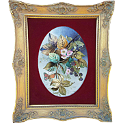 "Large & Fabulous France Pre-1890 Hand Painted ""Blackberries With Butterfly & Bumble Bee"" 17-1/2"" x 14-1/2"" Floral Framed Plaque"