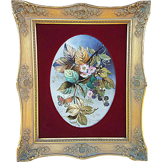 """Large & Fabulous France Pre-1890 Hand Painted """"Blackberries With Butterfly & Bumble Bee"""" 17-1/2"""" x 14-1/2"""" Floral Framed Plaque"""