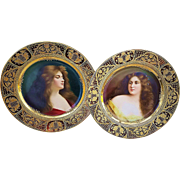 "Spectacular Pair of Vintage Royal Vienna 1900's Hand Painted Portraits of ""Reflesion & Revcuse"" 9-1/2"" Plates by the Artist, ""Wagner"""
