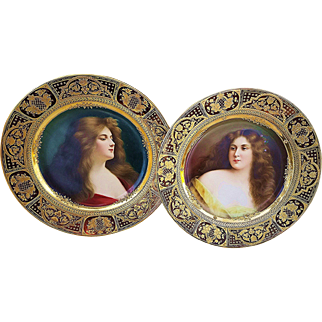 """Spectacular Pair of Vintage Royal Vienna 1900's Hand Painted Portraits of """"Reflesion & Revcuse"""" 9-1/2"""" Plates by the Artist, """"Wagner"""""""