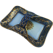 Beautiful Haviland & Co. & T & V Limoges Pre-1900 Hand Painted Cobalt Blue & Gold Floral Tray Especially Made for Ovington Bros. of New York
