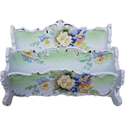 """Gorgeous RS Prussia Pre-1900 Hand Painted """"Purple & Yellow Violets"""" 2-Tier Fancy Scallop Letter Holder"""