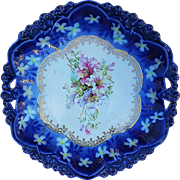 "Beautiful RS Prussia 1900 ""Purple, Pink, & White Lily"" 10-1/2"" Cobalt Blue Rosebud Floral Plate"