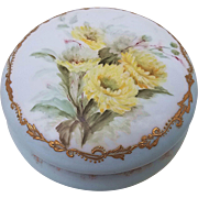 "Gorgeous D & Co. 1900 Hand Painted ""Yellow Mums"" 6"" Floral Dresser Box Casket"