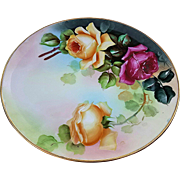 "Beautiful Haviland France & D'Arcy's Studio 1900's Hand Painted Vibrant ""Red & Yellow Roses"" 9-1/4"" Floral Plate"