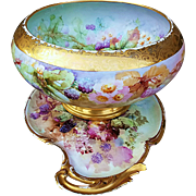 "Gorgeous & Large T& V Limoges 1909 Hand Painted ""Blackberry"" 8"" x 13-1/2"" Floral & Fruit Pedestal Punch Bowl by Listed Artist, ""Beatrice Carlsson"""