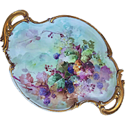 "Exceptional Limoges 1900's Hand Painted Lifelike ""Blackberries"" 17-1/4"" Vintage Fruit Tray"