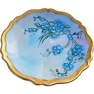 """Gorgeous Royal Austria 1900's Hand Painted """"Forget Me Not"""" Scallop Plate by the Artist, """"H. Danis"""""""