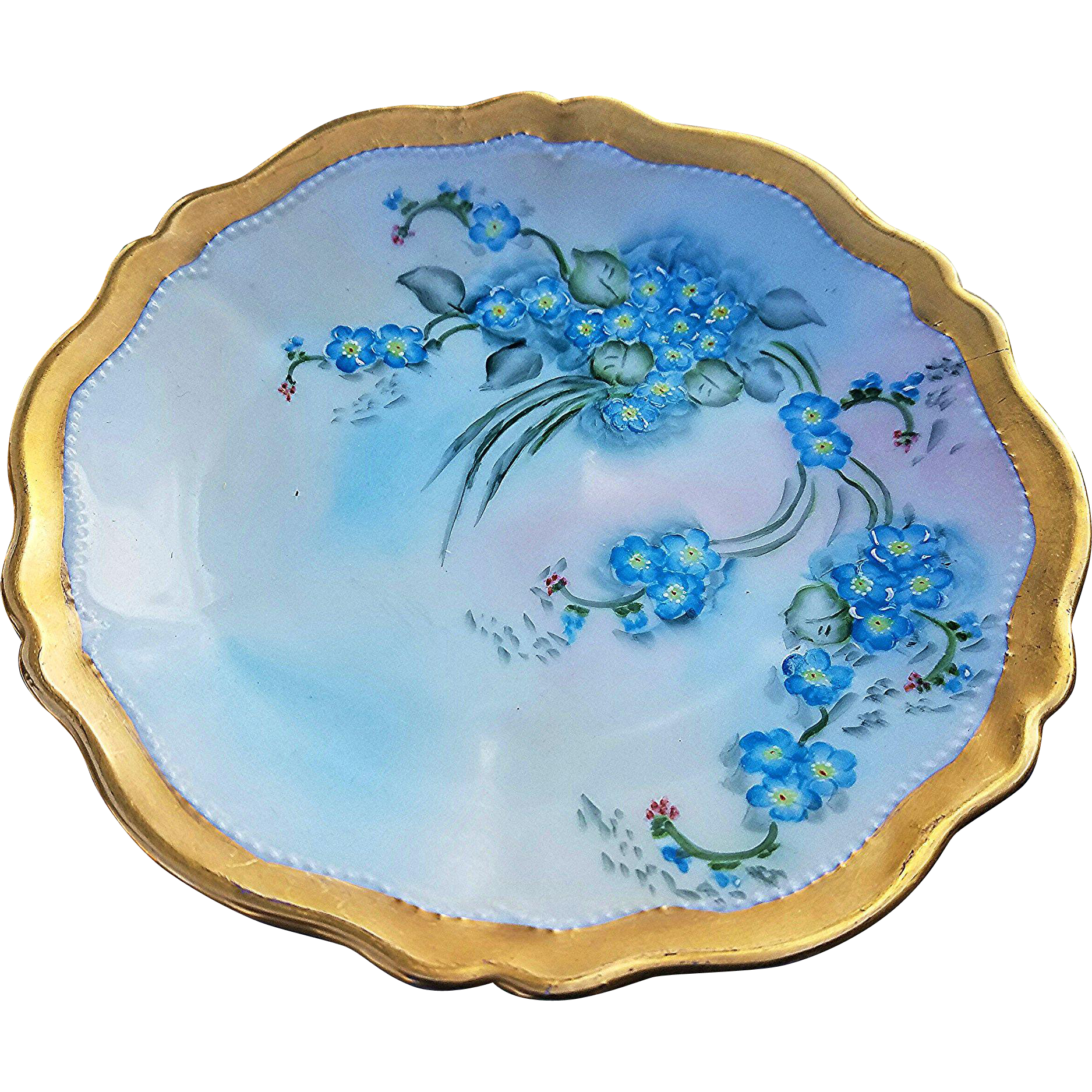 "Gorgeous Royal Austria 1900's Hand Painted ""Forget Me Not"" Scallop Plate by the Artist, ""H. Danis"""