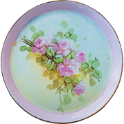 "Beautiful Favorite Bavaria 1900's Hand Painted ""Petite Pink Roses"" Floral Tray by the Artist, ""E. Heimadinger"""
