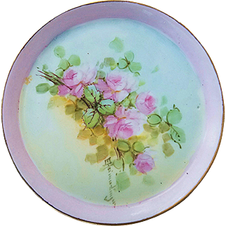 """Beautiful Favorite Bavaria 1900's Hand Painted """"Petite Pink Roses"""" Floral Tray by the Artist, """"E. Heimadinger"""""""