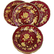 "Beautiful English Wedgwood 1930's Tonquin' Ruby Red 10-3/4"" Large Set of 6 Dinner Plates"