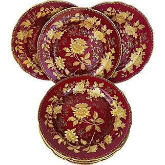 """Beautiful English Wedgwood 1930's Tonquin' Ruby Red 10-3/4"""" Large Dinner Plate"""