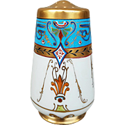 "Scarce Julius Brauer Studio & Royal Bavaria Hand Painted 1900's Hand Painted ""Arabian Desert"" 4-1/2"" Floral Muffineer"