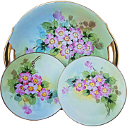 "Beautiful Bavaria 1900's Hand Painted ""Dogwood"" Set of 3 Plates by the Artist ""John Thonander"""