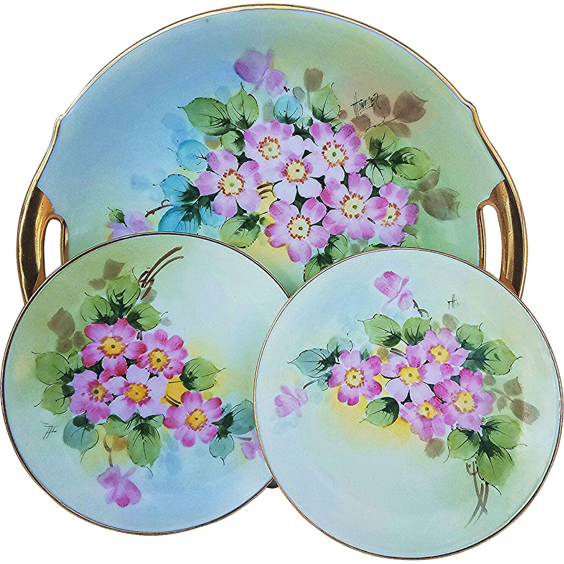 "Beautiful Bavaria 1900's Hand Painted ""Dogwood"" Set of 3 Plates by the Pickard Artist ""John Thonander"""