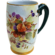 "Beautiful Limoges France 1900's Hand Painted ""Blackberry"" Dragon Handle Tankard Stein by the Artist, ""A.J.H."""