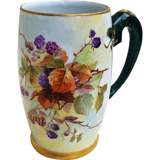 """Beautiful Limoges France 1900's Hand Painted """"Blackberry"""" Dragon Handle Tankard Stein by the Artist, """"A.J.H."""""""