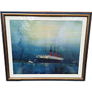 "Outstanding Frame Print of the Cunard Line Ocean Liner, ""RMS Mauritania""  28-3/4"" x 24"" by the Artist, ""K.D. Shoesmith"""